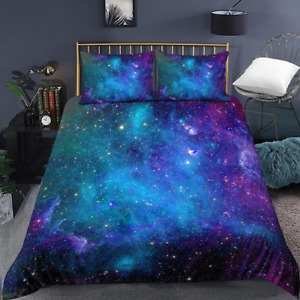 Galaxy Duvet Cover Queen Colorful Starry Bedding Set Outer Space Comforter Cover