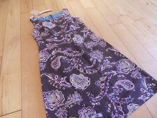 Laura Ashley Fab Paisley Print Dress Taupe Multi Size 12 Linen Blend bnwto