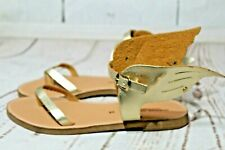 Handmade Greek Sandals Morena Wings Gold/Brown Leather Flats Women's Size 38/8