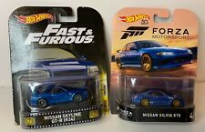 LOT OF 2 HOT WHEELS NISSAN FORZA SILVIA S15 & FAST FURIOUS SKYLINE GT-R R34 BLUE