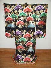 Vintage Black Japanese Uchikake Wedding Kimono w/ Pine, Plum & Bamboo