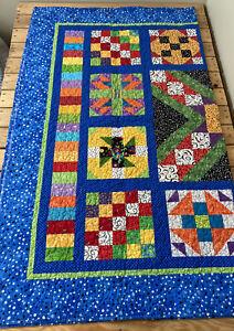 handmade patchwork quilt size 57x66 multicolor