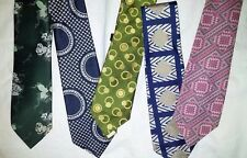 Vtg Deco Disco Abstract Psychedelic Mod Dress Wide Neck Tie Lot 5 Christian Dior