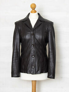 MaxMara UK 10 Quality Brown Quality Leather Fitted Jacket