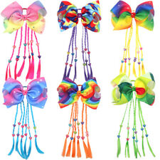 8 inch Big Hair Bows Elastic HairBands Pigtail Holders for Girls Toddlers 6Color