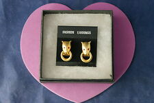 Beautiful Gold Color Earrings With Woolf Head 2.5 Cm.Long Without  Box