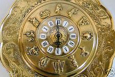 Reloj de pared Latón Oro con Signo del zodiaco Cuarzo Redondo 29cm