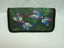 DRAGONFLY STAINED GLASS  IMAGE NEOPRENE FABRIC  CHECKBOOK COVER