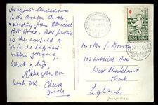 Finland 1955 PPC to GB NAPAPIIRI POLCIRKELN ROVANIEMI cancel on 25+5 Red Cross