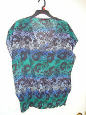 Sofia Vergara Blue/Green/Purple Ethnic Lace Design Poly V-Neck Top Blouse XL NEW