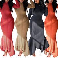 Sexy Women Knit Long Sleeve Bodycon Sweater Dress Ruffle Fishtail Maxi Dresses N