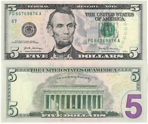 USA . BILLET DE 5 DOLLARS . NEUF . 2017 .