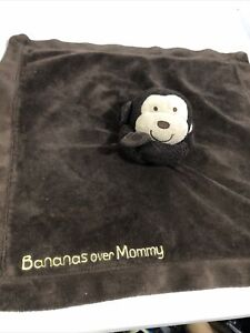 CARTERS Brown MONKEY Snuggle Blanket Bananas Over Mommy Rattle Lovey Satin