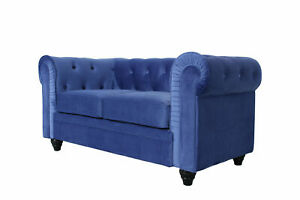 * New* Ready Assembled Chesterfield 2 Seater Velvet Fabric Couch Sofa In Blue