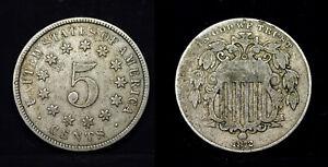 1872 , 5C Rays Shield Nickel , USA