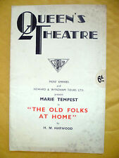 QUEEN'S THEATRE PROGRAMME- Marie Tempest in THE OLD FOLKS AT HOME by H M Harwood