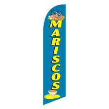 Mariscos Seafood Banner Flag and Pole Windless Feather 2.5 wide Swooper Y D Blue