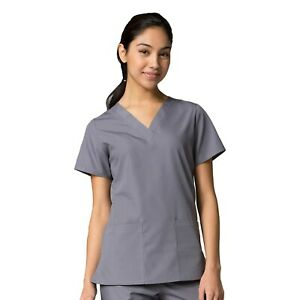 Maevn Scrub RED PANDA Women's Classic Two Front Pockets V-Neck Top 1716