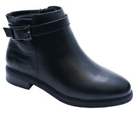 WOMENS EXTRA WIDE-FIT BLACK ZIP-UP SMART CASUAL EEE ANKLE BOOTS SHOES SIZES 4-10