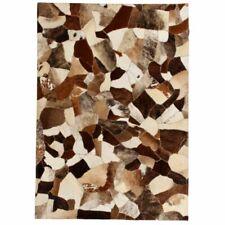 vidaXL Teppich Leder Kuhleder Patchwork braun weiß 80x150cm Lederteppich