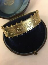 Victorian Antique Silver Sterling Gilt Ornate Heavy Bangle Cuff Bracelet 1889