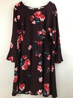 Old Navy Womens Plus Size 2XL Burgundy Floral Long Bell Sleeve Dress