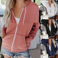 Women Plain Hoodies Fleece Sweatshirt Hooded Coat Casual Zip up Jacket Outwear