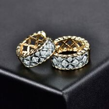 18K Gold Filled Shiny Sapphire Crystal Promise Womens Hollow Hoop Stud Earrings