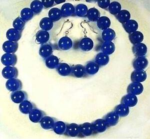 10mm Blue Sapphire Round Beads Gemstone Necklace Bracelet Earrings Jewelry Set