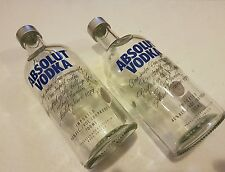 2 x Absolute  Vodka Empty Bottle 0.7 litre