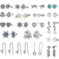 European Elegant Women 925 Sterling Silver CZ Flower Ear Stud/Dangle Earrings