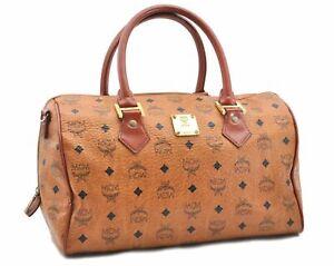 Authentic MCM Cognac Visetos Leather Vintage Hand Boston Bag Brown D8464