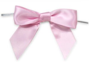 """12 Baby Pink 3"""" Pre-tied Satin Bows 5"""" Twist Ties 7/8 Ribbon Crafts Gifts Favors"""