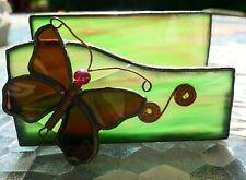 "Stained Glass Trinket Box Display Curio Showcase Jewelry Butterfly Design 4X2"""