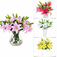1X Bunch Artificial Latex Real Touch Lily Fake Flower Wedding Home Decor Bouquet