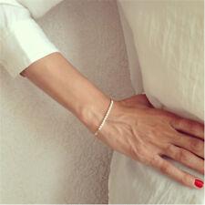 New Fashion Women Elegant Gold Pearl Bead Handmade Chain Bangle Bracelet Jewelry