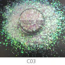 3D LaserGreen Chunky Iridescent Irregular NailArt Flakes Glitter Foil Decoration
