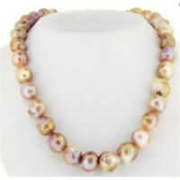 12-13mm Pink Baroque Pearl Necklace 14K Clasp 18inch flawless irregular AAA