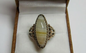 Vintage Russian Soviet Sterling Silver 875 Ring Agate ,Women's Jewelry Size 8.5
