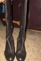 """Antonio Melani 15.5"""" Tall Brown Womens 6M Zip Boot With Tie At Top VGC Shoes"""