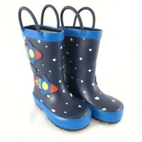 Cat & Jack Toddler Boys Rain Boots Outer Space Rocket Ship Blue Size 5