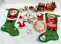 Vintage 70s-90s Santa Items -Ornaments, Stockings, Snoopy, More-  Lot of 15