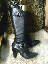 BACK LEATHER/TAB DETAIL/BUCKLE FIX/HEEL BOOTS/SIZE 8 BY EMOTIONS/16 INCH CALVES