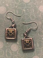 Brighton SPIN MASTER Scrollwork Silver or Gold Square Cute Custom Earrings