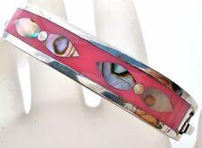 Mexican Sterling Silver Pink Enamel Bangle Bracelet 925 Abalone Shell Vintage