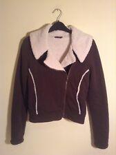 Miss Selfridge women's faux shearling jacket - UK 8 - khaki green coat jersey