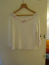 Cream Embroidered & Diamante Ribbed 3/4 Sleeve Top in Size L / Size 18 - 20