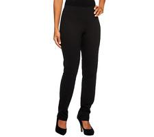 Women With Control Regular Pull On Slim Leg Pants Size L Black Color