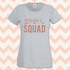 Bride Squad Hen Party T-Shirts Rose Gold Ladies or Unisex Tops and T Shirts