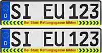 Bicolor zwei Kennzeichenhalter STAU RETTUNGSGASSE BILDEN 2er Nummernschildhalter